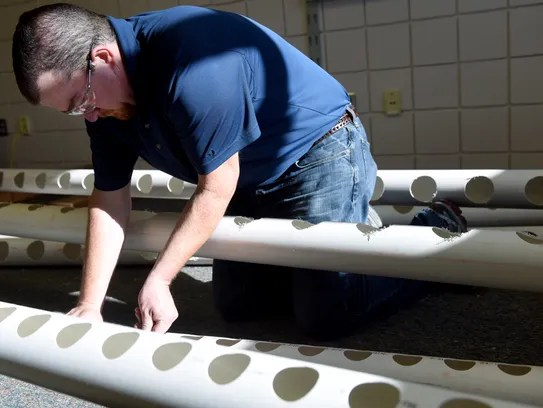 Kyle Brunick builds a hydroponics system in Linda Pinz-Valdez's