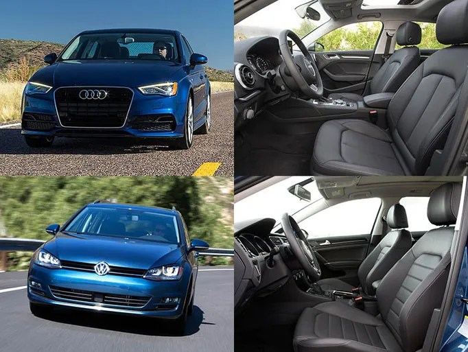 2015 Audi A3 TDI sedan and the 2015 VW Golf Sportwagen