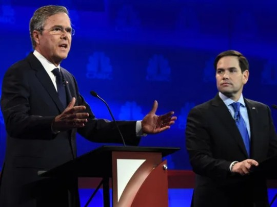 Jeb Bush and Marco Rubio face off on Oct. 28, 2015,