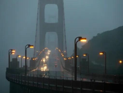 Traffic moves slowly across the Golden Gate Bridge