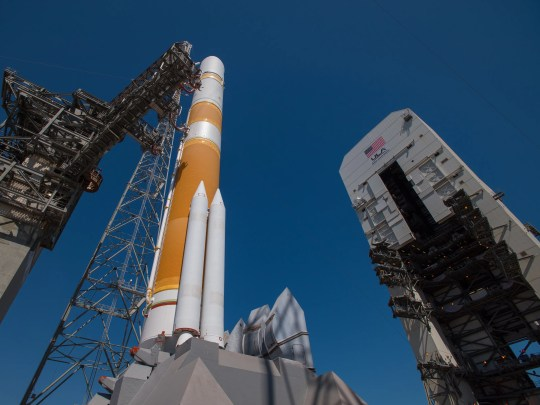 United Launch Alliance's Delta IV rocket stands on