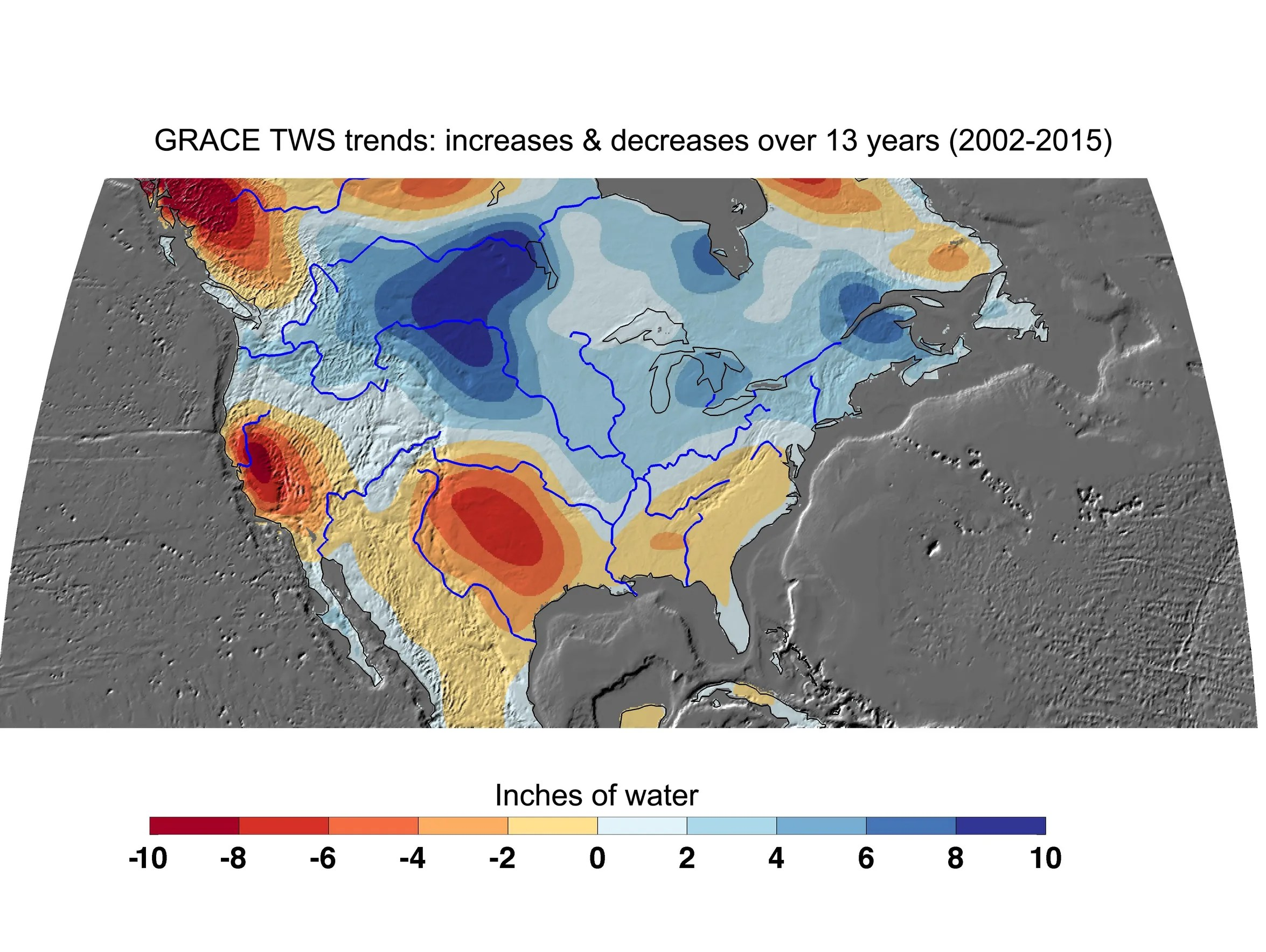 NASA's GRACE satellites have measured losses of freshwater