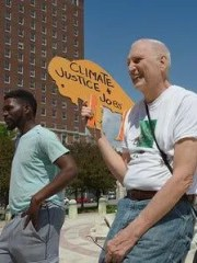 Martin Gugino shown in June 2019 at at Buffalo Youth Climate Strike rally.