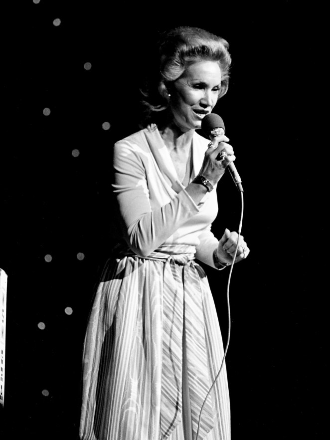 Jan Howard is performing during the WSM Luncheon and Opry Spectacular at the Grand Ole Opry House Oct. 14, 1976 as part of OpryÕs 51st birthday celebration week.