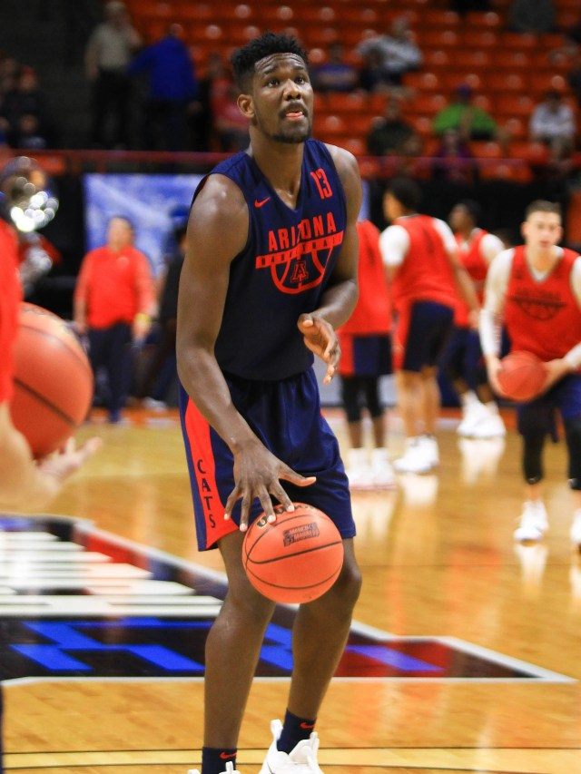 Mar 14, 2018: Arizona Wildcats forward Deandre Ayton (13) looks to shoot during the practice day before the first round of the 2018 NCAA Tournament at Taco Bell Arena.
