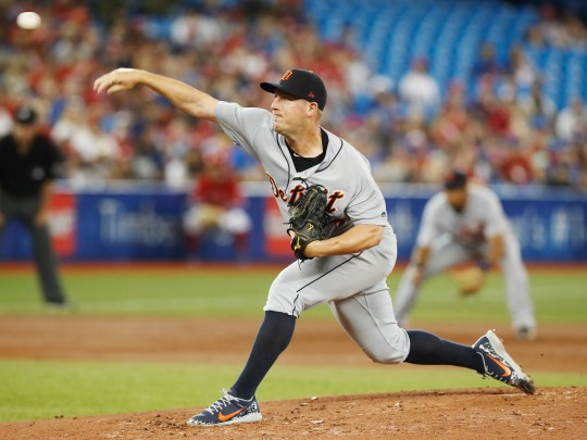 Tigers pitcher Jordan Zimmermann throws against the Blue Jays during the second inning in Toronto on Sunday.