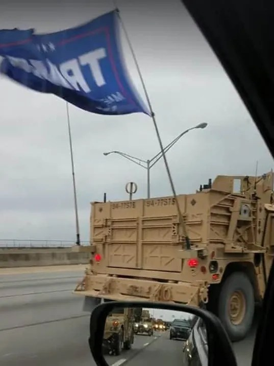 Image result for Special forces flew Trump flag in convoy
