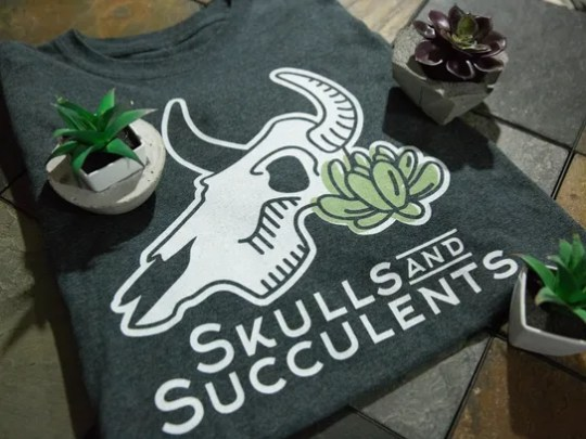 Skulls and Succulents, offers t-shirt and posters with