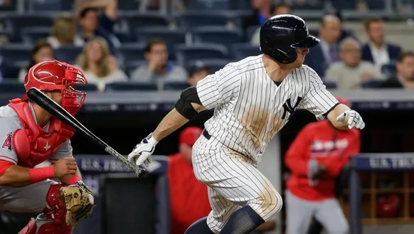New York Yankees' Brett Gardner follows through on