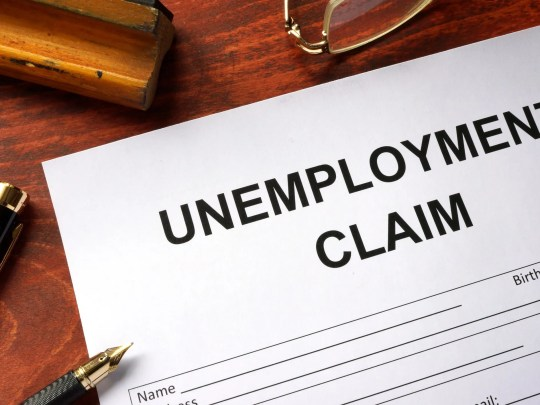 A piece of paper that says Unemployment Claim on it