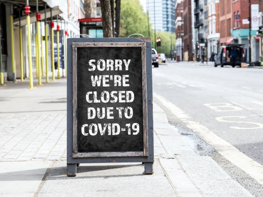 Sign indicating that a business is closed due to COVID-19