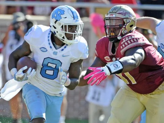 North Carolina RB T.J. Logan (8), was drafted by the