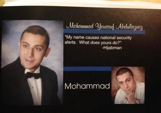 Page from Muhammad Youssef Abdulazeez's high school
