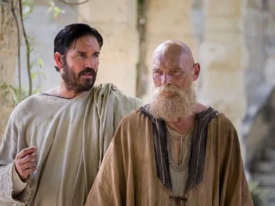 Jim Caviezel (as Luke, left) and James Faulkner (as