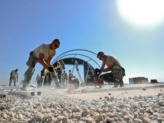 Airmen build structures Sept. 23 in support of personnel