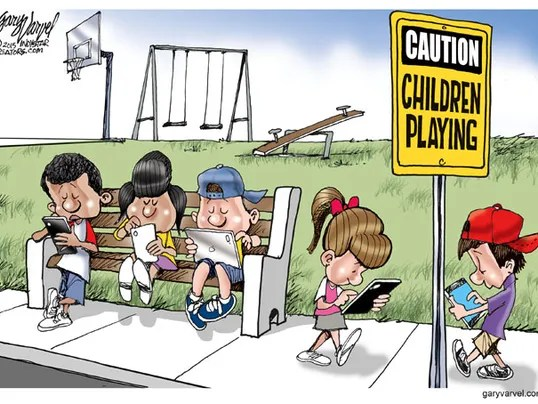 Cartoonist Gary Varvel: Children playing mobile devices