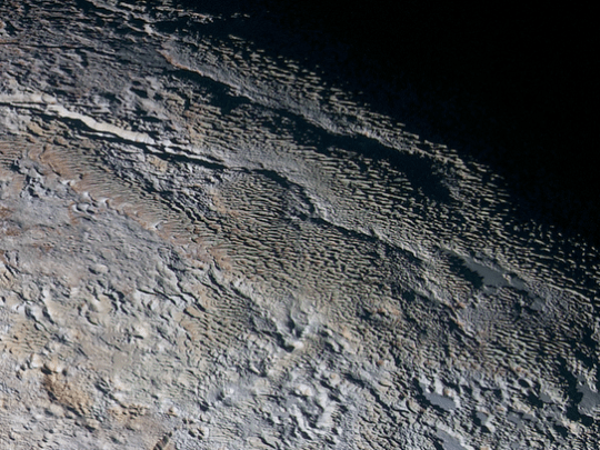In this extended color image of Pluto taken by NASA's