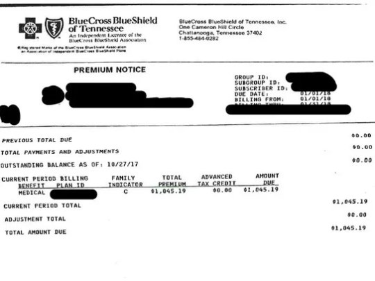 A letter from BlueCross BlueShield of Tennessee showing