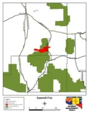 The location of the Sawmill Fire southest of Tucson,.