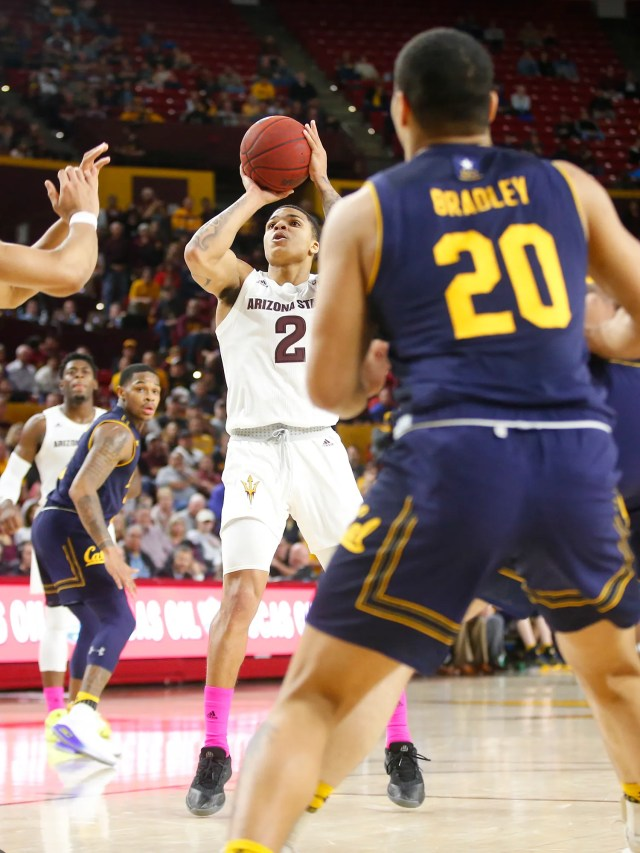 Arizona State Sun Devils guard Rob Edwards (2) takes a shot during a men's basketball game against the California Golden Bears at Wells Fargo Arena in Tempe on February 24.
