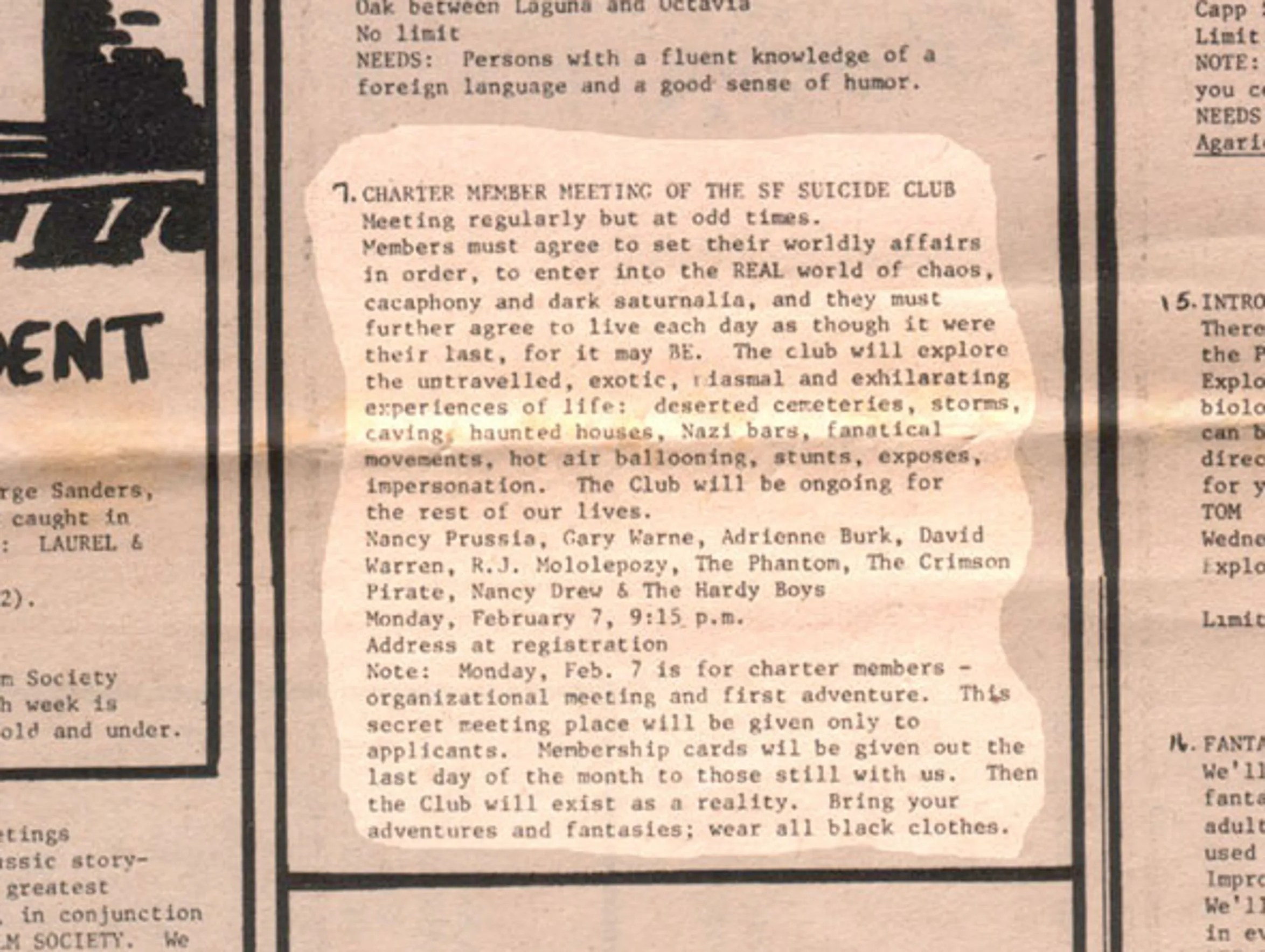 A newspaper clipping pictured by the Suicide Club shows