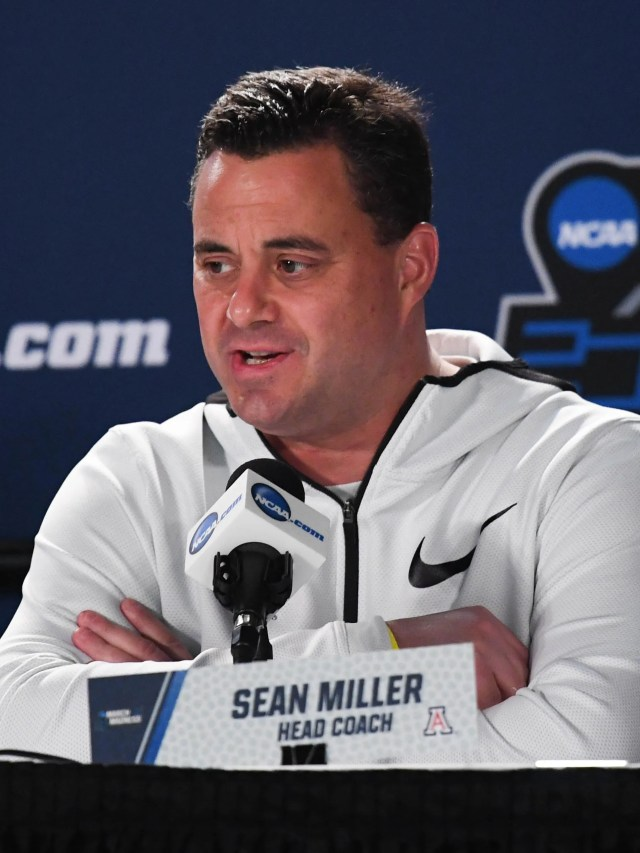 Mar 14, 2018: Arizona Wildcats head coach Sean Miller speaks at a press conference during the practice day before the first round of the 2018 NCAA Tournament at Taco Bell Arena.