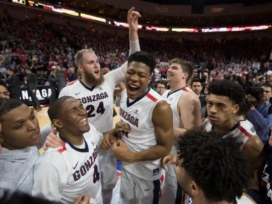 Gonzaga Bulldogs celebrates after defeating the Saint