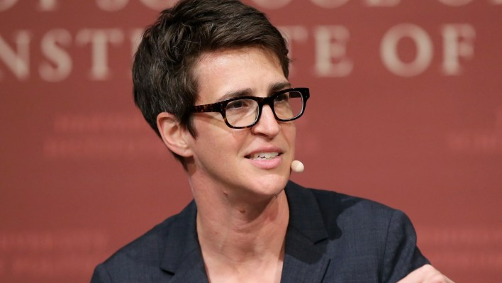 MSNBC political commentator, Rachel Maddow, pictured as a coordinator on a forum committee at Harvard University's John F Kennedy School of Government.