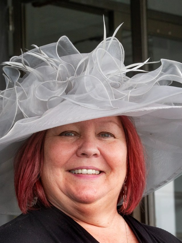 Geri Urbansky of Old Bridge gets in the Derby Spirit. Opening Day of Horseracing at Monmouth Park brought out the crowds and celebrators since it's also Kentucky Derby Day.