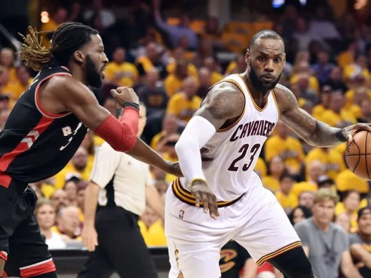 Cleveland Cavaliers forward LeBron James drives to