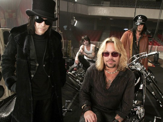Motley Crue, from left,  Mick Mars, Tommy Lee, Vince Neil and Nikki Sixx.