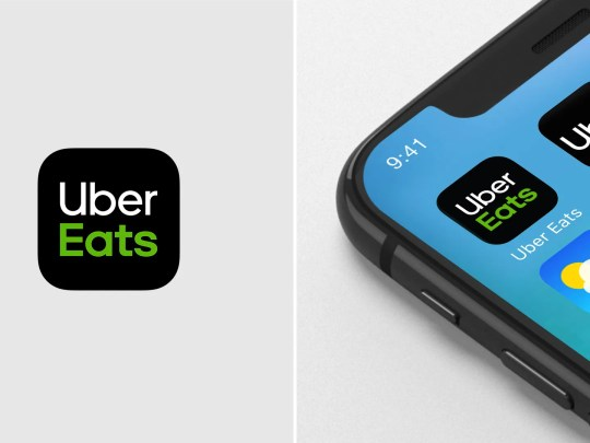 Das Uber Eats-App-Symbol allein und unter anderem App-Symbole auf einem Smartphone
