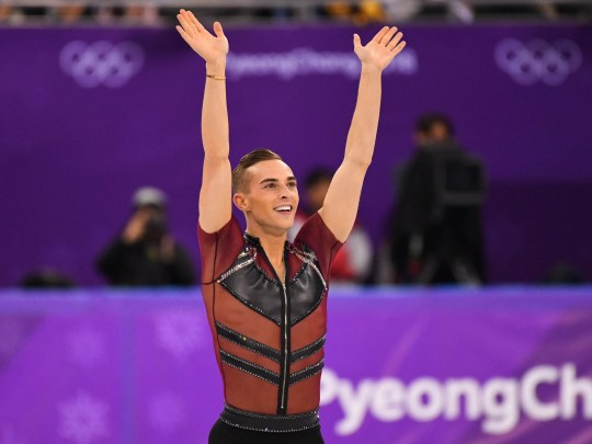 Adam Rippon competes in the men's figure skating short