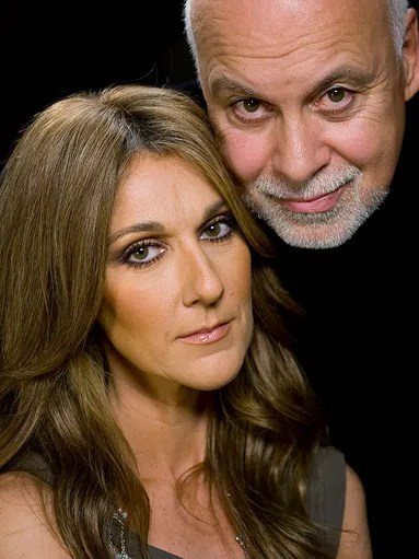 Singer Celine Dion and her husband Rene Angelil pose