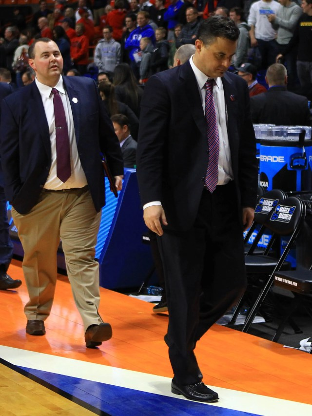 Mar 15, 2018; Boise, ID, USA; Arizona Wildcats head coach Sean Miller walks off the court after the game against the Buffalo Bulls during the first round of the 2018 NCAA Tournament at Taco Bell Arena. Mandatory Credit: Brian Losness-USA TODAY Sports
