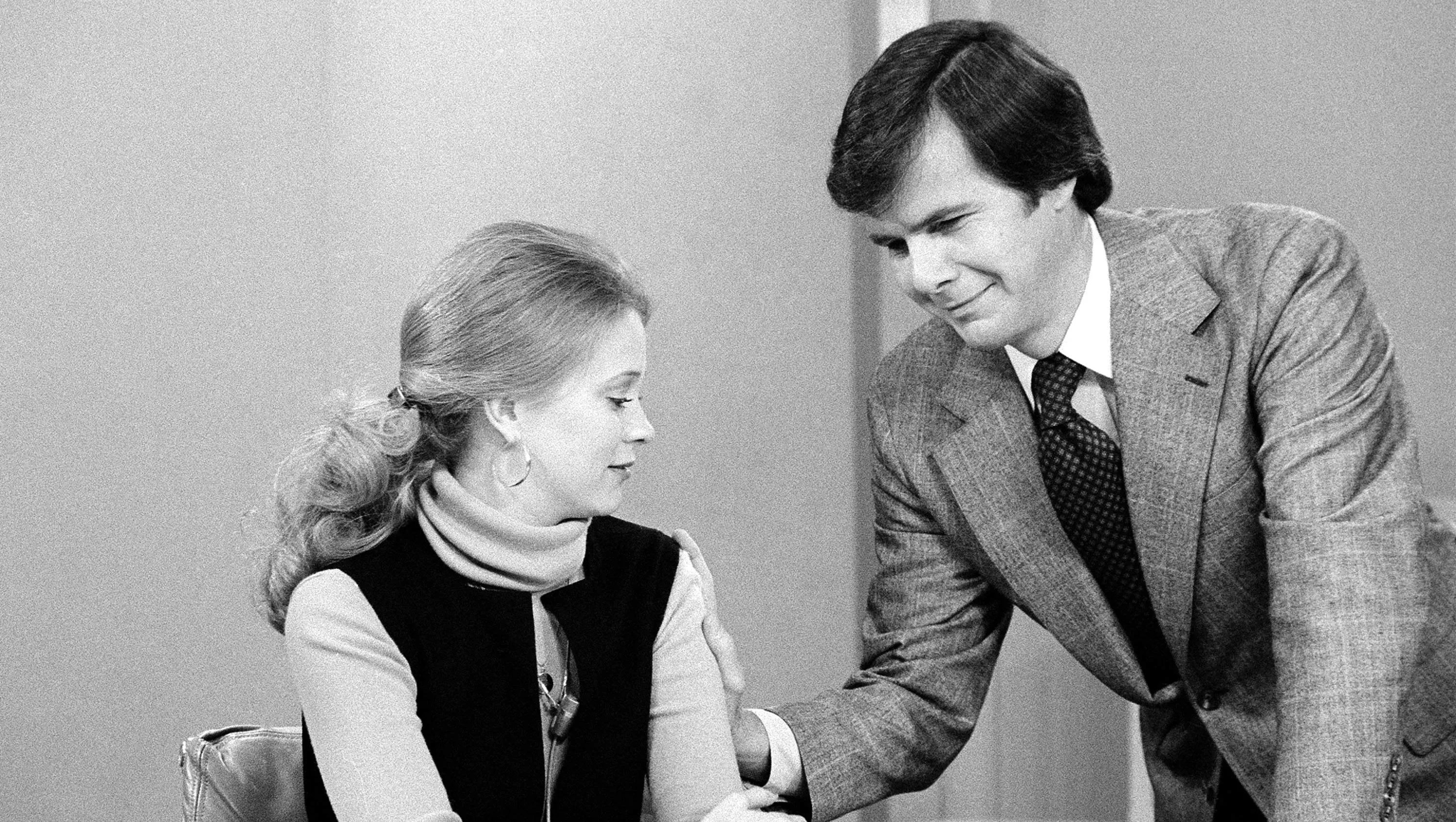 """Tom Brokaw, right, talks to Jane Pauley ahead of her first appearance on """"Today,"""" NBC's signature morning show, 1976."""