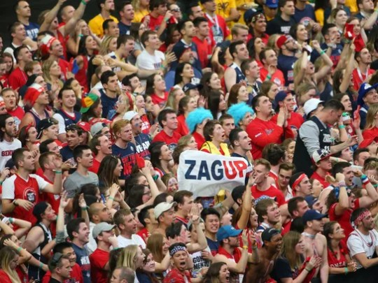 Gonzaga fans react during the second half of the NCAA