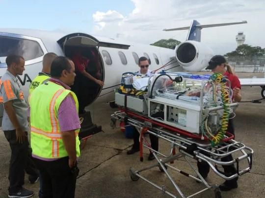 A medical flight prepares to leave San Juan in Puerto
