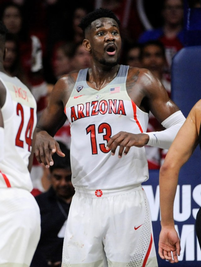 Feb 10, 2018; Tucson, AZ, USA; Arizona Wildcats forward Deandre Ayton (13) reacts after a call by an official during the second half against the Southern California Trojans at McKale Center. Mandatory Credit: Casey Sapio-USA TODAY Sports