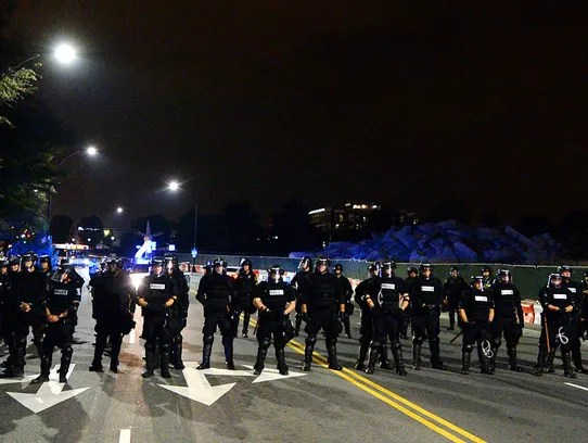Charlotte-Mecklenburg police block a street in Charlotte,