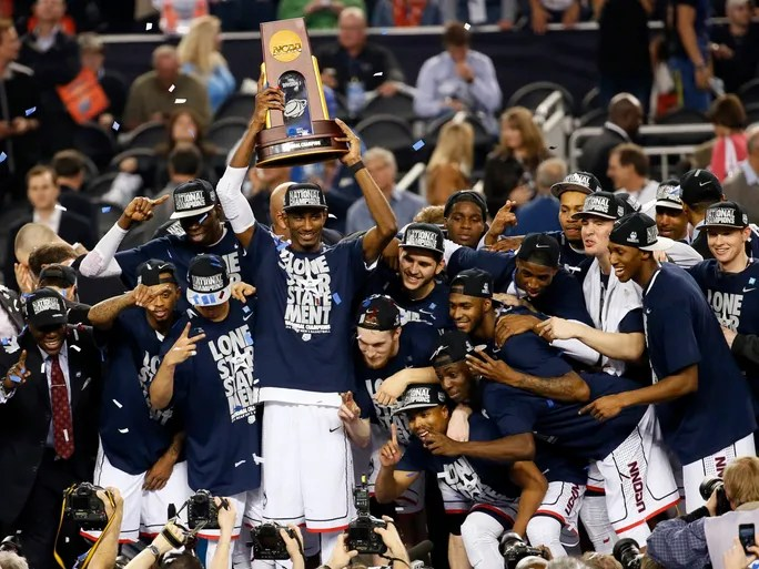 An improbably season ended with an improbably NCAA championship for Connecticut. After being banned from postseason play last year, Connecticut defeated Kentucky 60-54 to win the national title.
