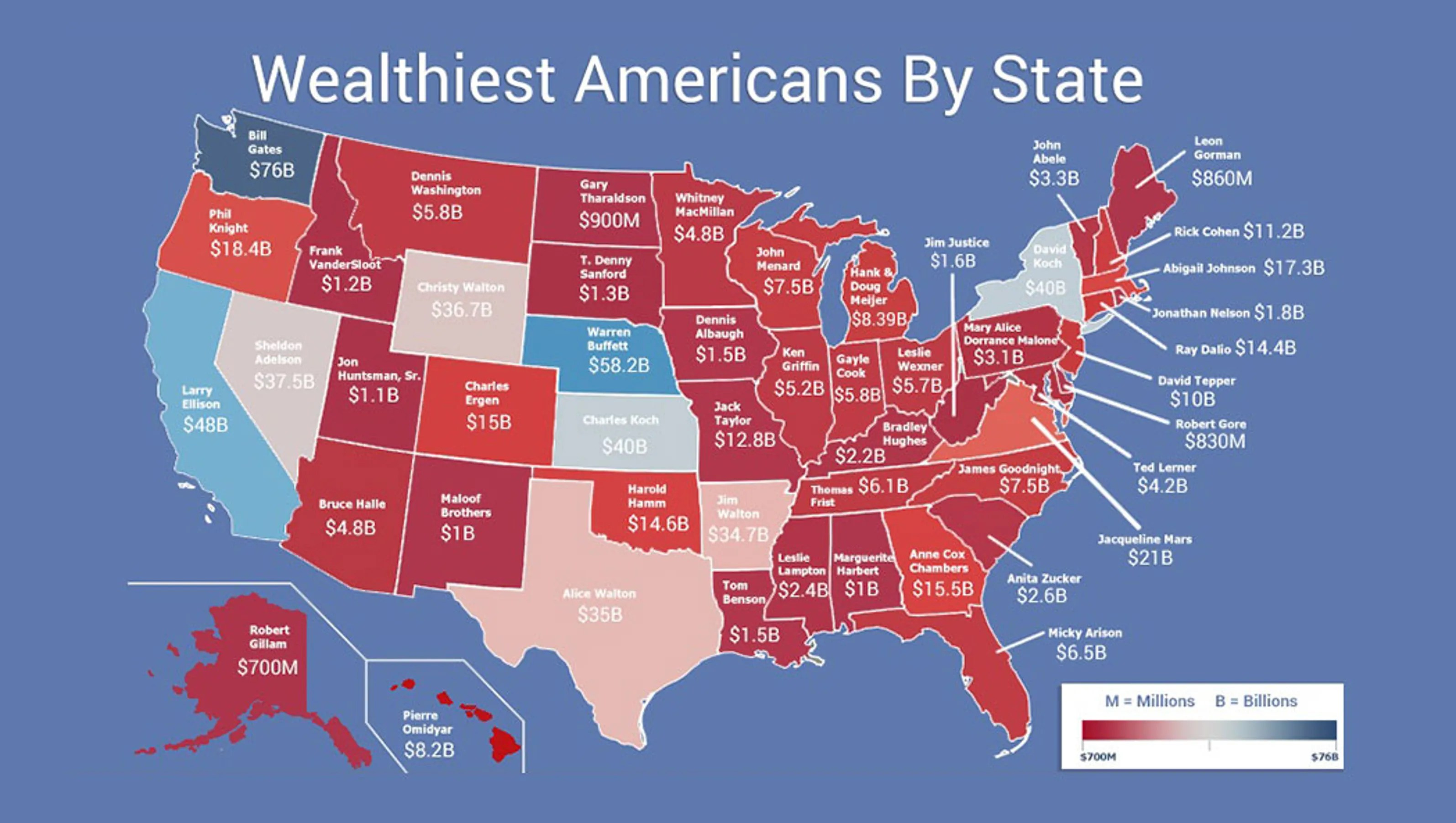 Map Shows Wealthiest Person In Each State