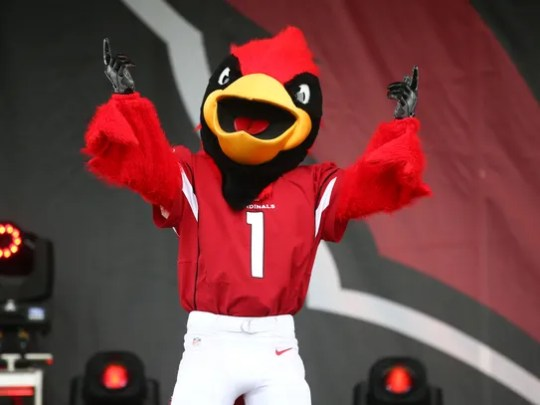 Arizona Cardinals mascot Big Red at the draft party