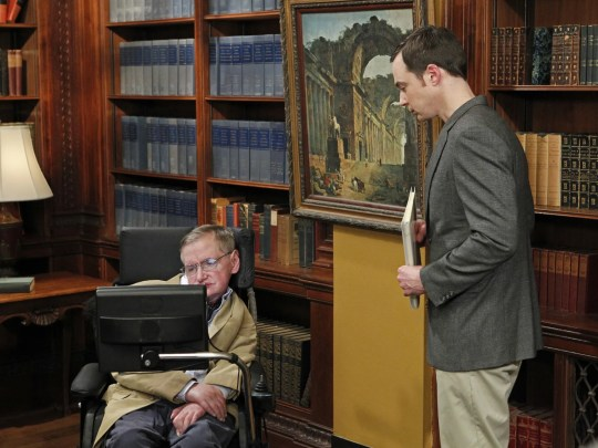 """""""The Big Bang Theory"""" featured many well-known guest stars from the fields of science, business and entertainment, including theoretical physicist Stephen Hawking, left, who is seen here with """"Bang"""" physicist Sheldon (Jim Parsons)."""