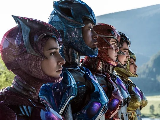 Kimberly the Pink Ranger (from left, Naomi Scott),
