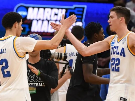 UCLA guard Lonzo Ball (2) and forward TJ Leaf (22)
