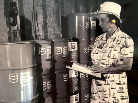 Caroline Rossetter on the job with Chevron.