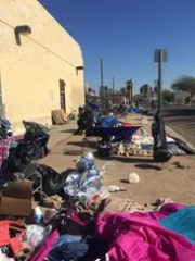 Madison Street in downtown Phoenix, where the homeless