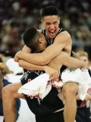 UA's A.J. Bramlett and Bennett Davison hug, after winning