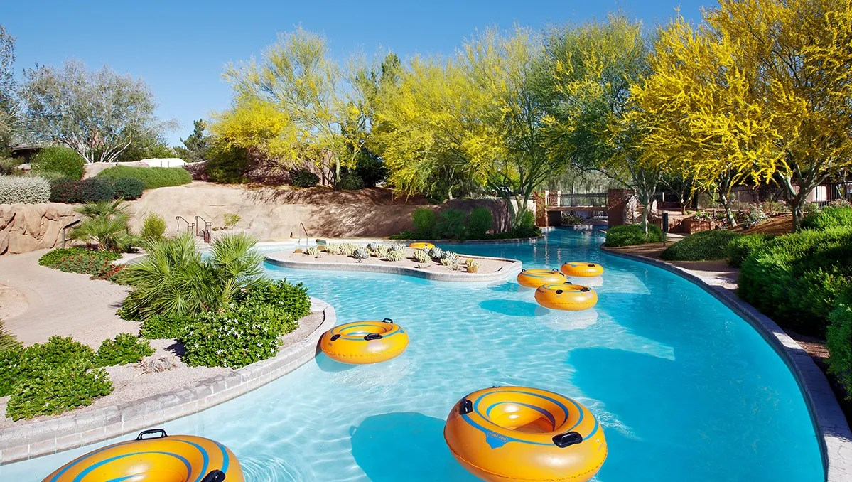 The Westin Kierland offers the Adventure Pool, which has a zero entry deck and splash pad for small children, a 110-foot water slide and lazy river.